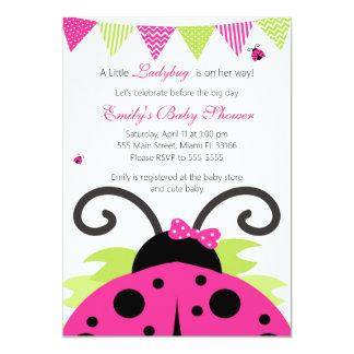 Ladybug Hot Pink Baby Shower Party Invitation