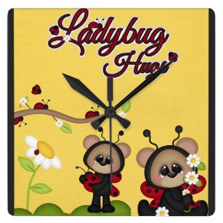Ladybug Hugs Bear Red Black Cute Flowers Yellow Square Wall Clock