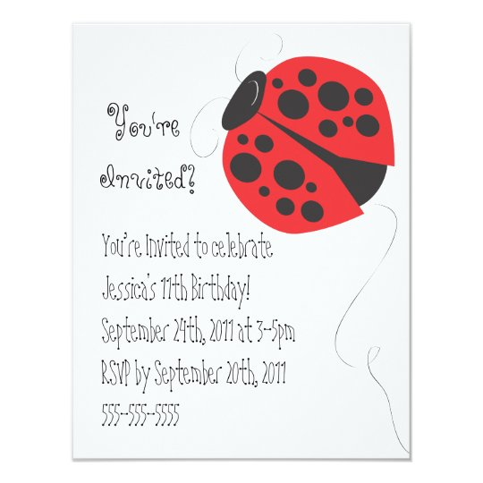 Ladybug illustration birthday invitation