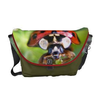 Ladybug in close up messenger bag