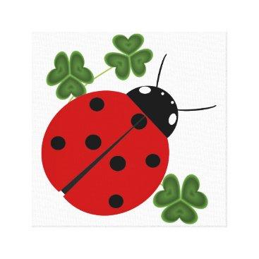 Art Themed Ladybug in Clover Canvas Print