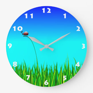 LADYBUG IN GRASS Wall Clock
