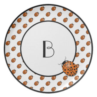 Ladybug in orange dinner plate