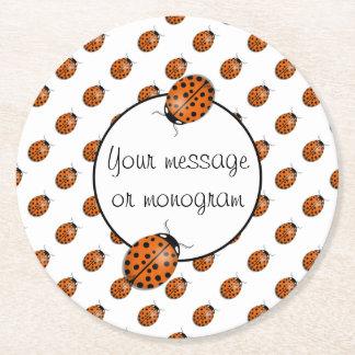 Ladybug in orange round paper coaster