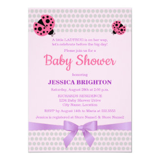 Ladybug in Pink and Lavender Ribbon Baby Shower Card