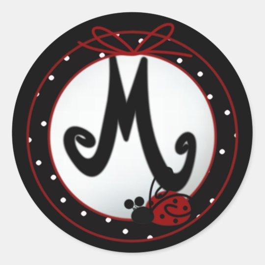Ladybug Initial M Round Stickers