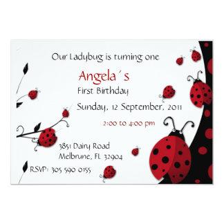 Ladybug Invitation Girl Birthday Party