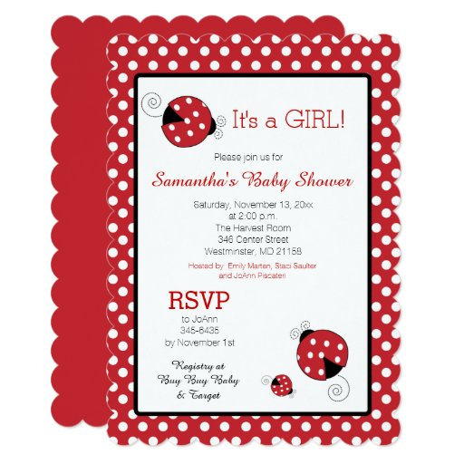 Ladybug It's a Girl Baby Shower Invitation