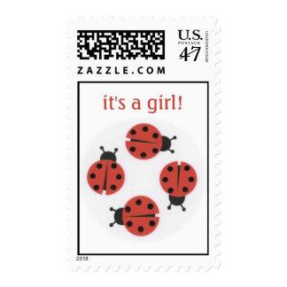 ladybug; it's a girl! postage stamp