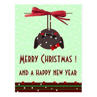 ladybug kawaii xmas greetings postcard
