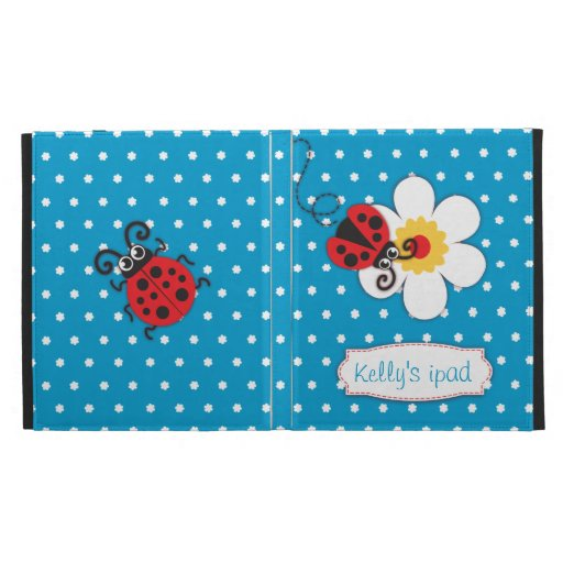 Ladybug kids named blue red ipad folio case