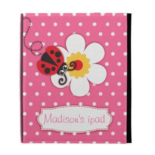 Ladybug kids named pink red ipad folio case