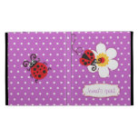 Ladybug kids named purple red ipad folio case