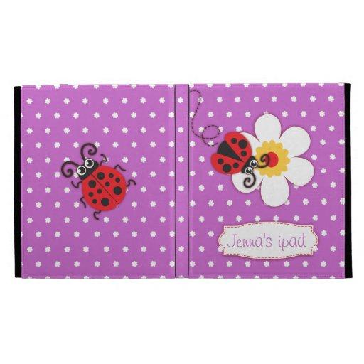Ladybug kids named purple red ipad folio case