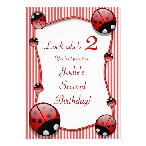 "Ladybug Kids Second 2 Birthday Party Invitation 5"" X 7"