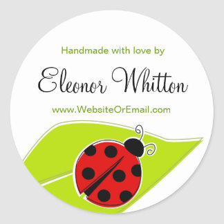 Ladybug Labels for Handmade items Classic Round Sticker