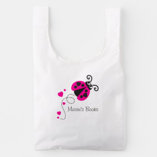 Ladybug lady bird pink kids book bag