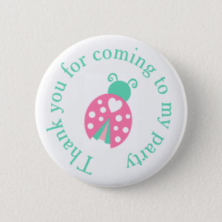 Ladybug Ladybird Birthday  'Thank you for coming' Pinback Button