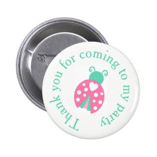 Ladybug Ladybird Birthday  'Thank you for coming' Pinback Button