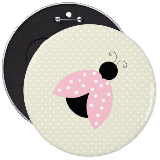 Ladybug (Ladybird, Lady Beetle) with Dots - Pink 6 Inch Round Button
