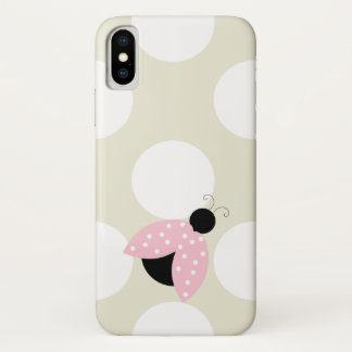 Ladybug (Ladybird, Lady Beetle) with Dots - Pink iPhone X Case