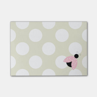 Ladybug (Ladybird, Lady Beetle) with Dots - Pink Post-it Notes