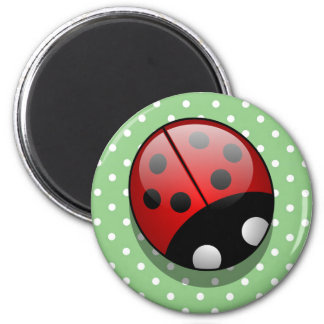 Ladybug (Ladybird, Lady Beetle) with Dots - Red 2 Inch Round Magnet