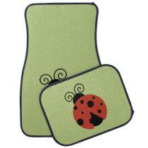 Ladybug (Ladybird, Lady Beetle) with Dots - Red Car Mat