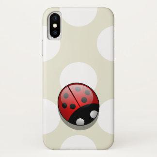 Ladybug (Ladybird, Lady Beetle) with Dots - Red iPhone X Case