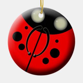 Ladybug, Ladybug Double-Sided Ceramic Round Christmas Ornament