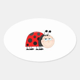 Ladybug Ladybugs Bug Bugs Funny Insect Cute Smile Oval Sticker