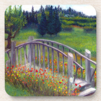 Ladybug Lane Footbridge & Flowers Cork Coasters