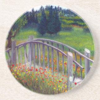 Ladybug Lane Footbridge Flowers Sandstone Coaster