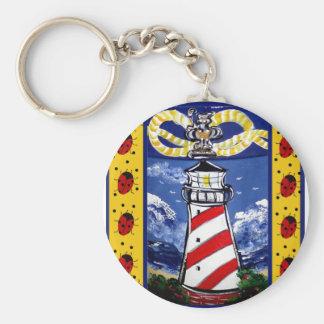 Ladybug Lighthouses Basic Round Button Keychain