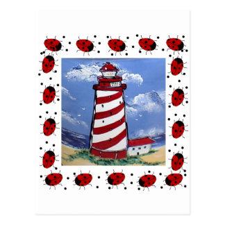Ladybug Lighthouses Postcard