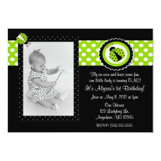 Ladybug Lime Green Photo Birthday Inviation Card