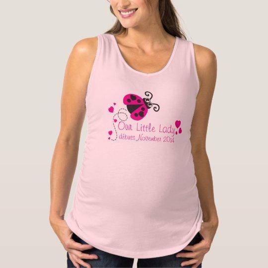 Ladybug little lady cute pink maternity t-shirt