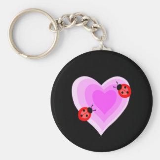 Ladybug Love Basic Round Button Keychain