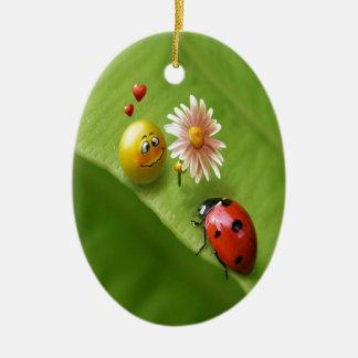 Ladybug Love Ceramic Ornament