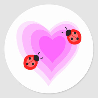 Ladybug Love Classic Round Sticker