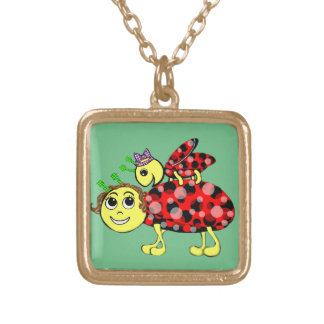 Ladybug Love Customize or add Text Gold Plated Necklace