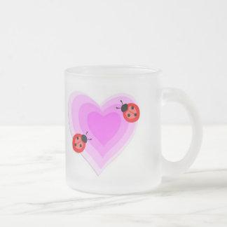 Ladybug Love Frosted Glass Coffee Mug