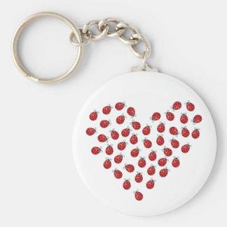 Ladybug Love Heart Basic Round Button Keychain