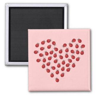 Ladybug Love Heart Fridge Magnets