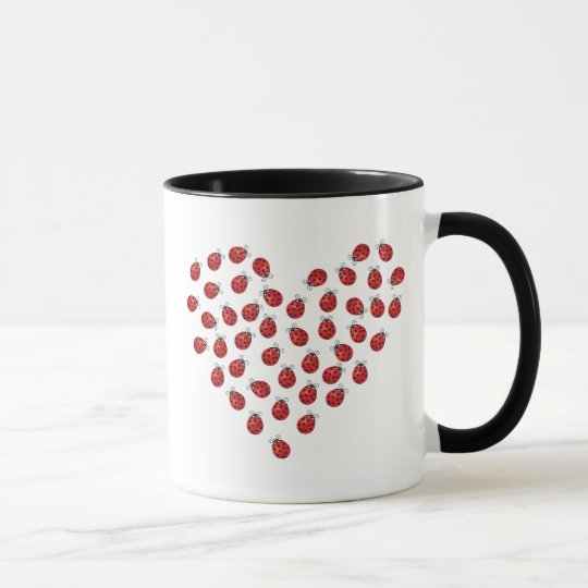 Ladybug Love Heart Mug