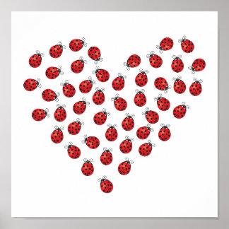 Ladybug Love Heart Poster