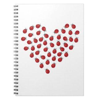 Ladybug Love Heart Spiral Notebook