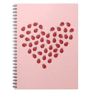 Ladybug Love Heart Spiral Notebooks