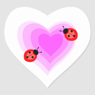 Ladybug Love Heart Sticker