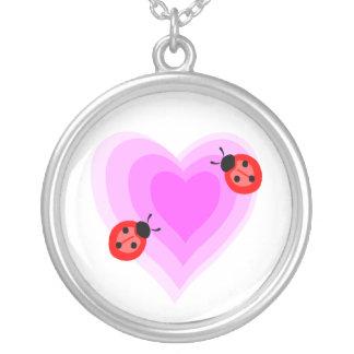 Ladybug Love Round Pendant Necklace